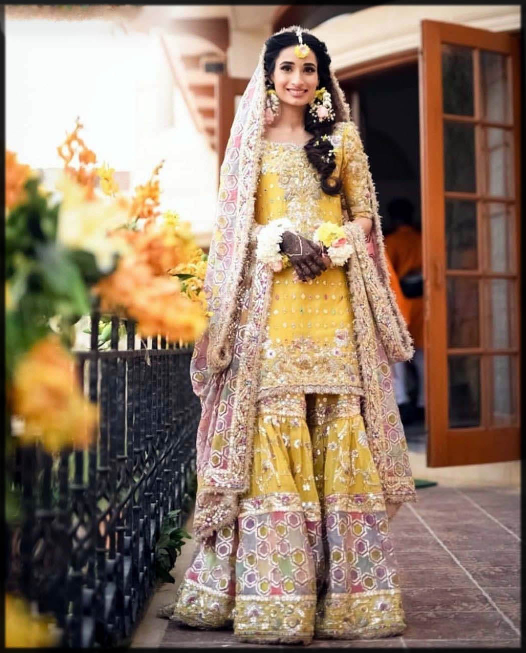 mehndi bridal gharara design
