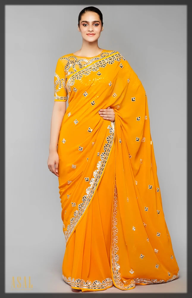 mirror embellished mango saree