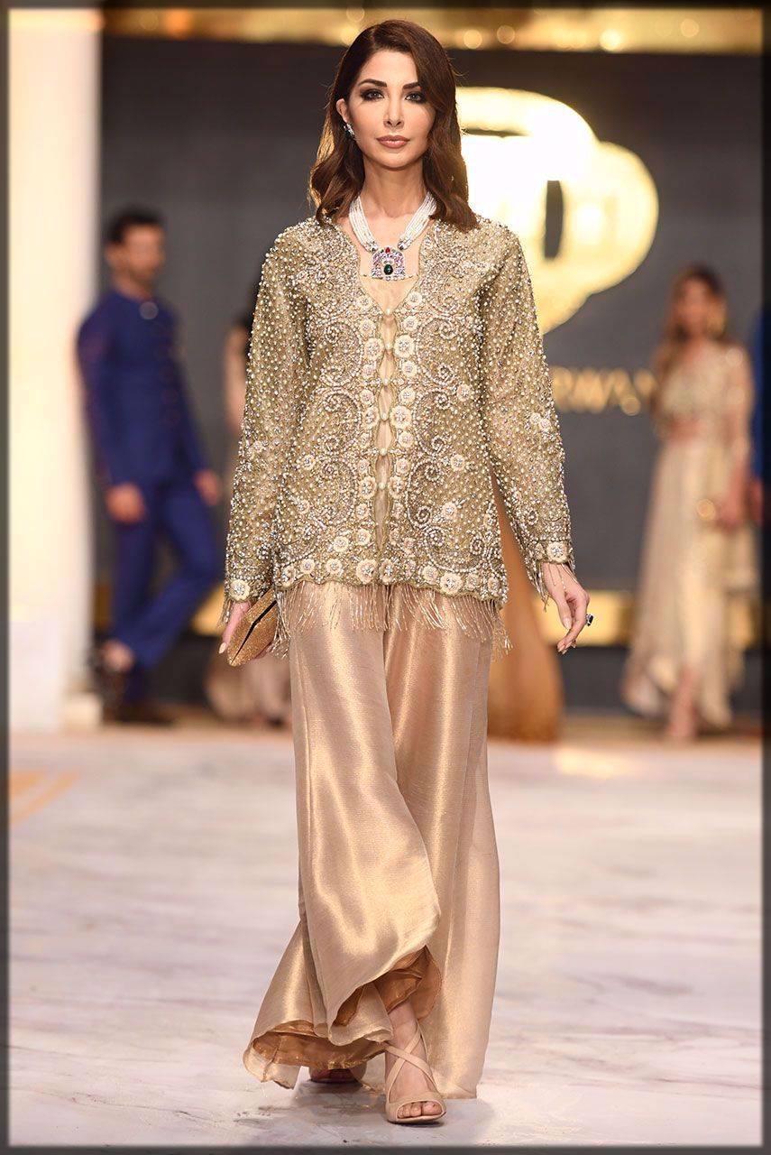 modern jacket in shinning gold net