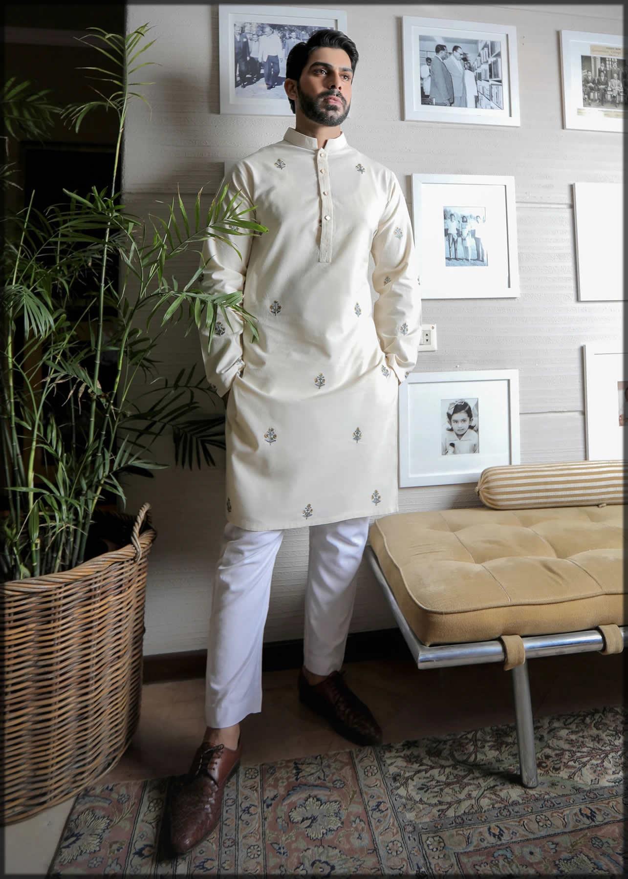 modern off-white kurta