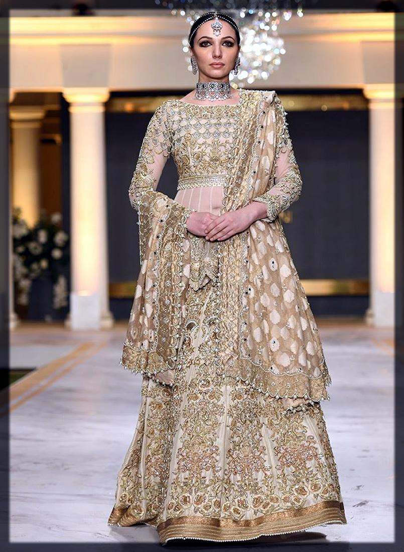 modest gold lehenga for bride