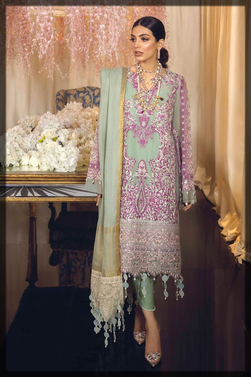 moss green embroidered net suit