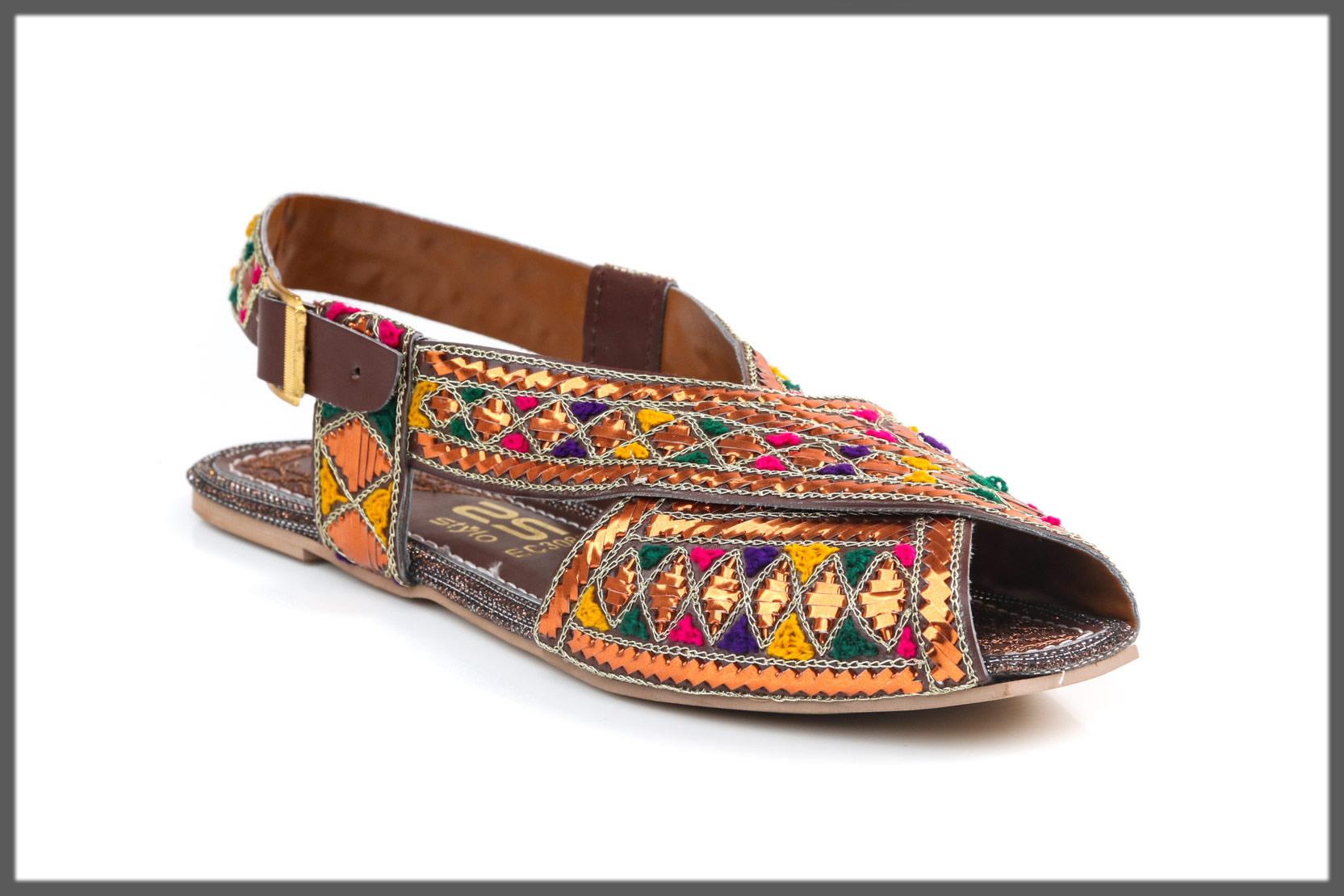 multi-colored peshawari sandals