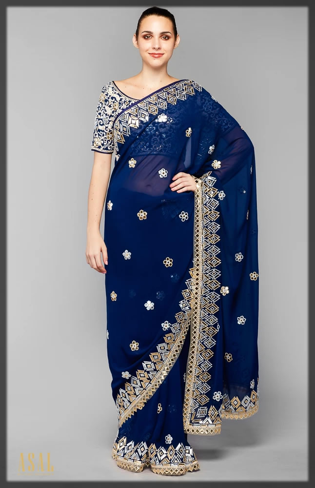 navy blue saree