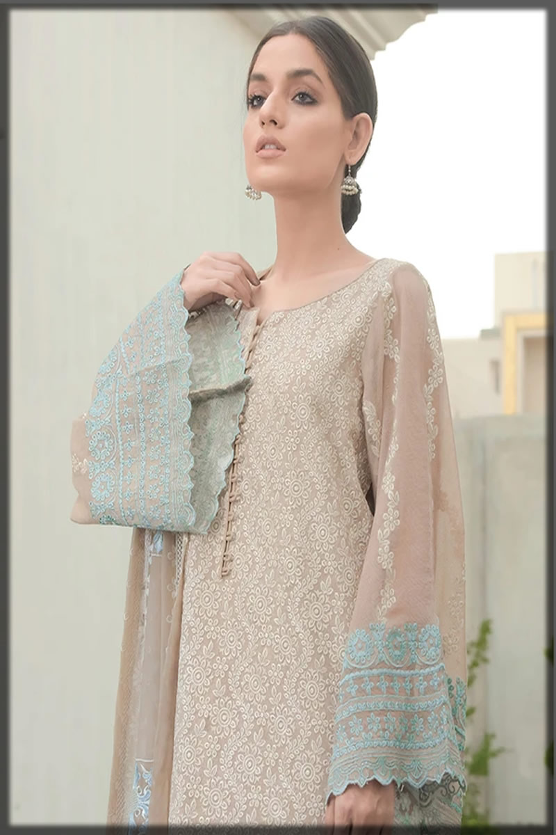 net embroidered lawn suit