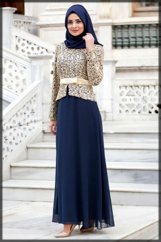 new dark blue bridal abaya with belt style