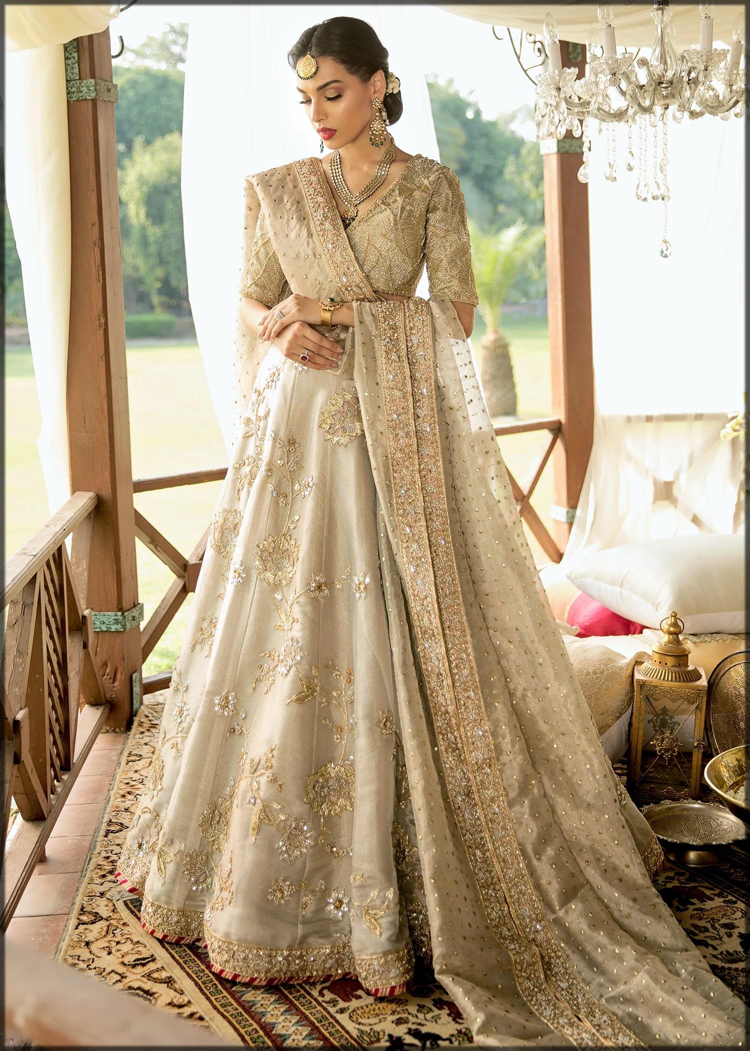 new golden bridal dress for barat