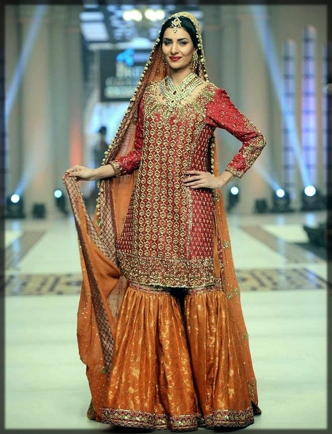 new styles of gharara for pakistani brides