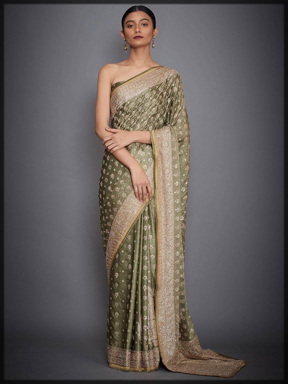 olive green silk satin saree