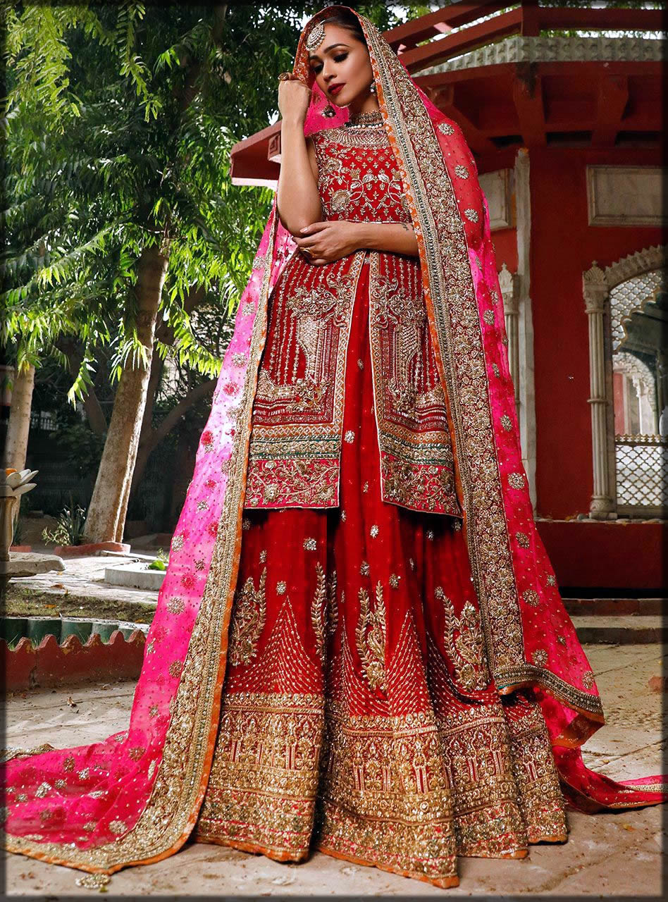 open front bridal dress in pink and red color