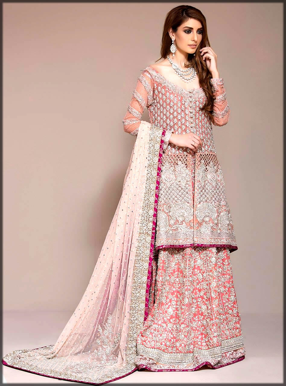 orange and pink net bridal dress