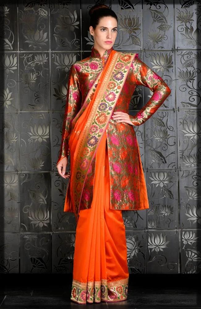 orange banarsi saree