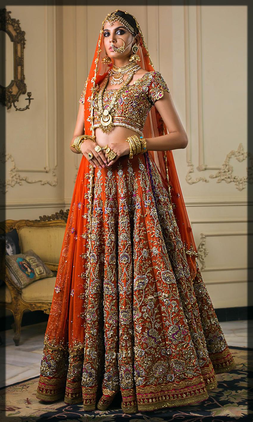 orange barat day bride dress