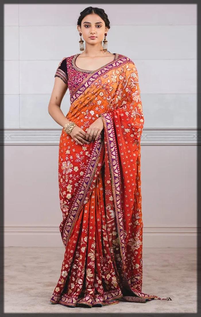orange bridal saree