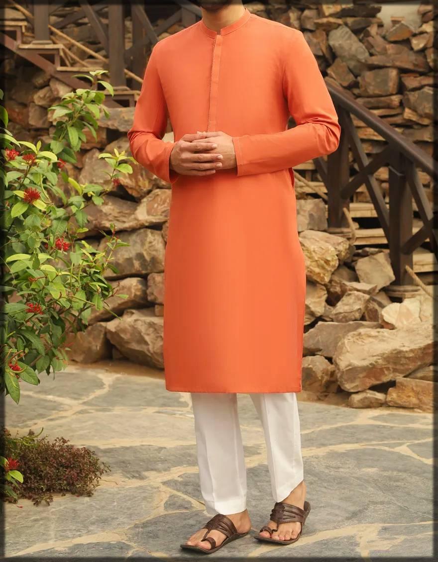 orange colored attire for men