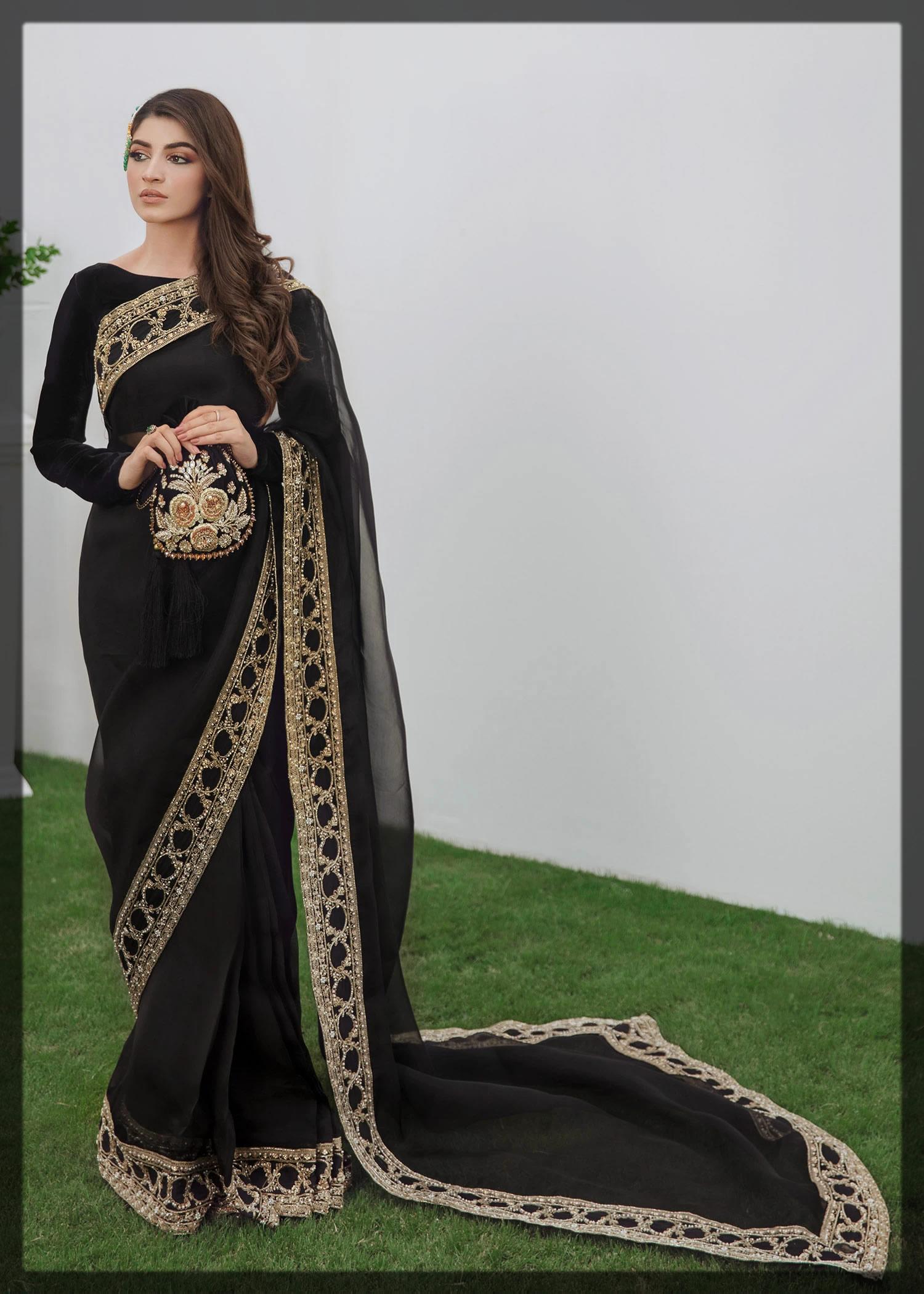 organza embellished black saree