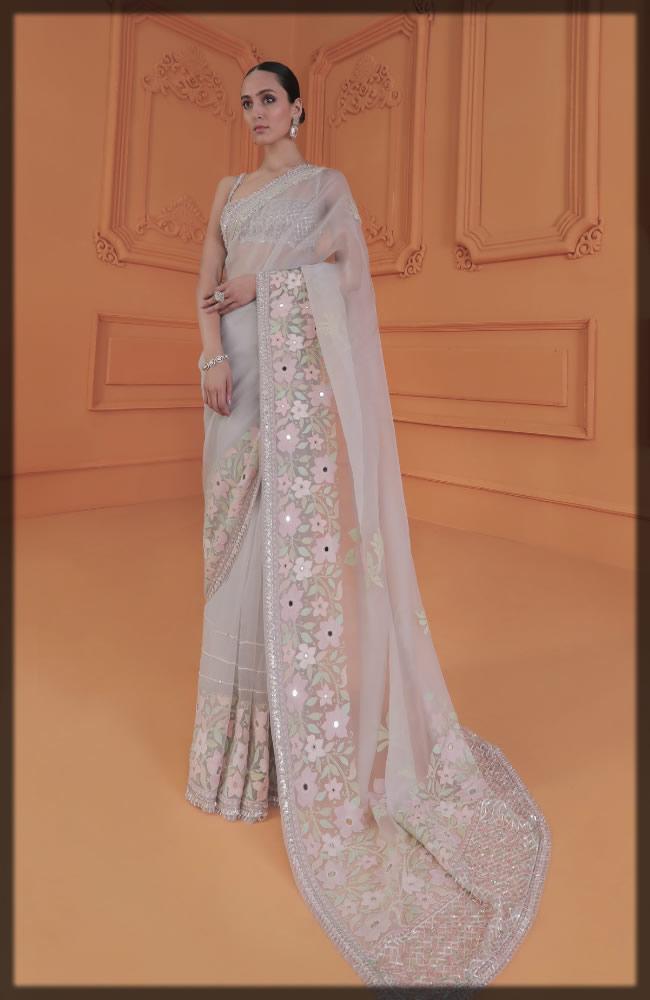 organza embroidered saree