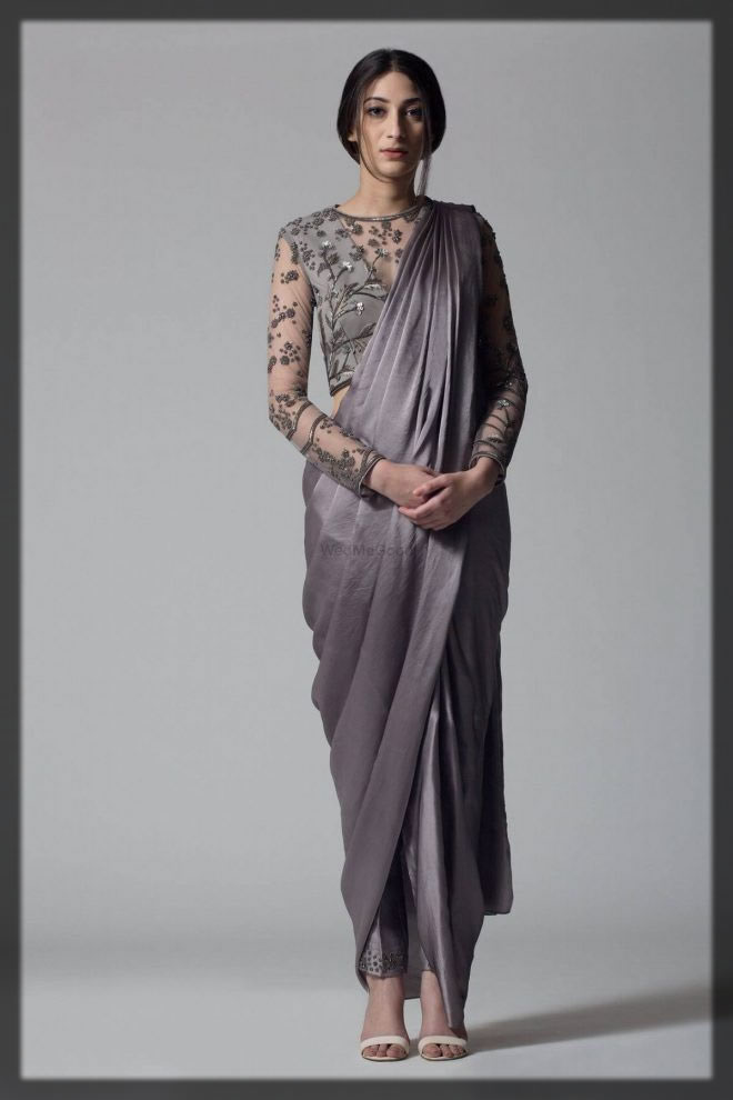 pant style saree with fancy blouse