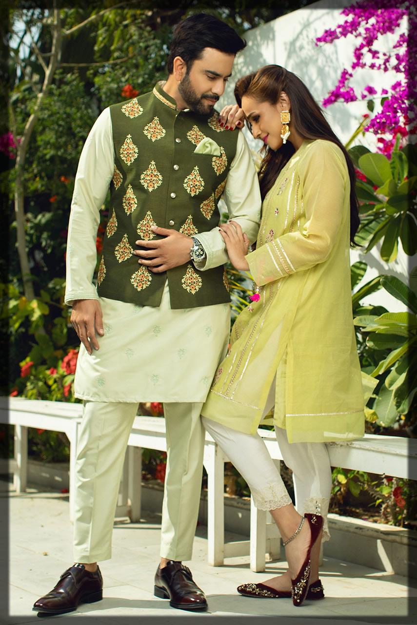 parraot green couple outfit