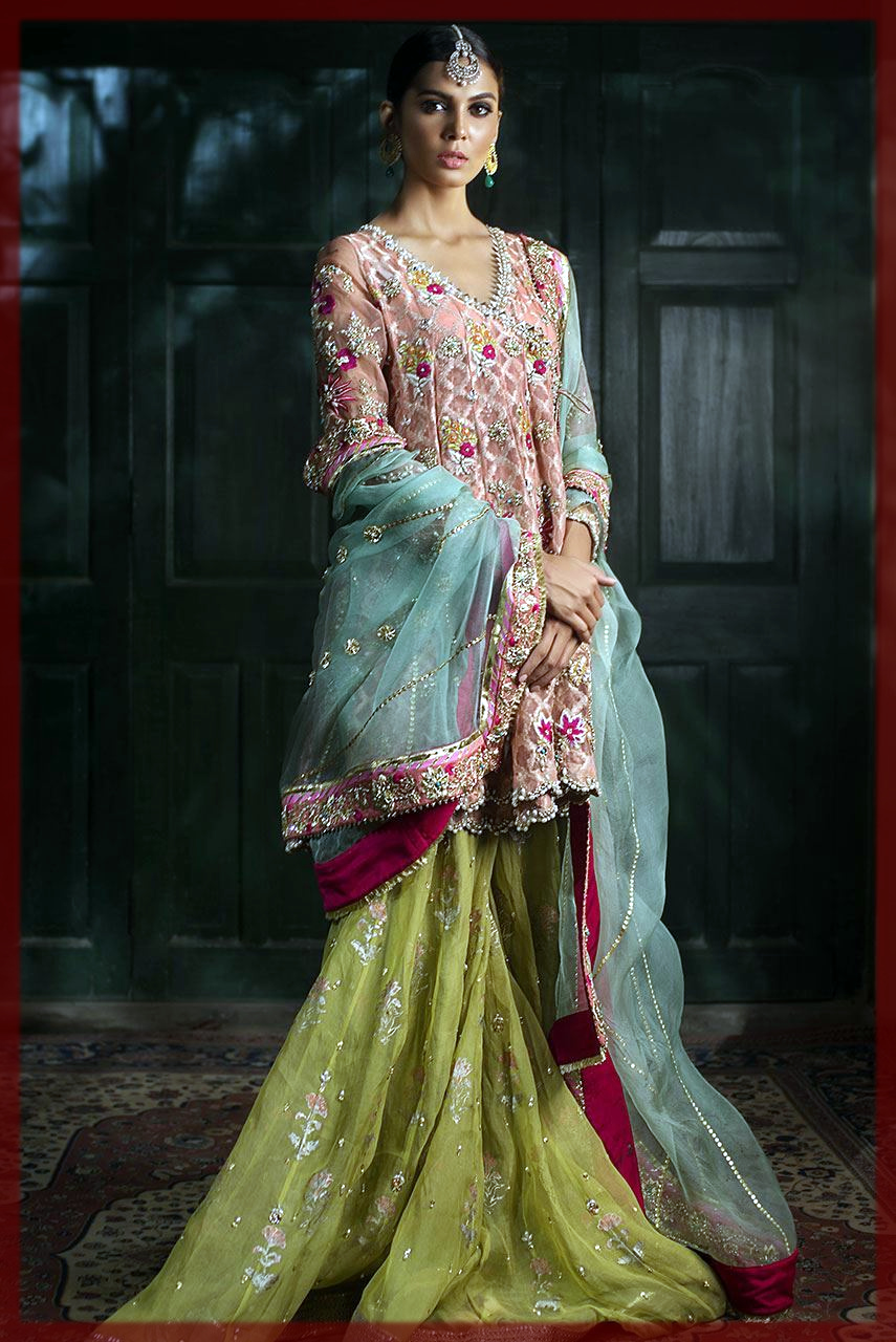 parrort green Deepak Perwani Bridal Collection
