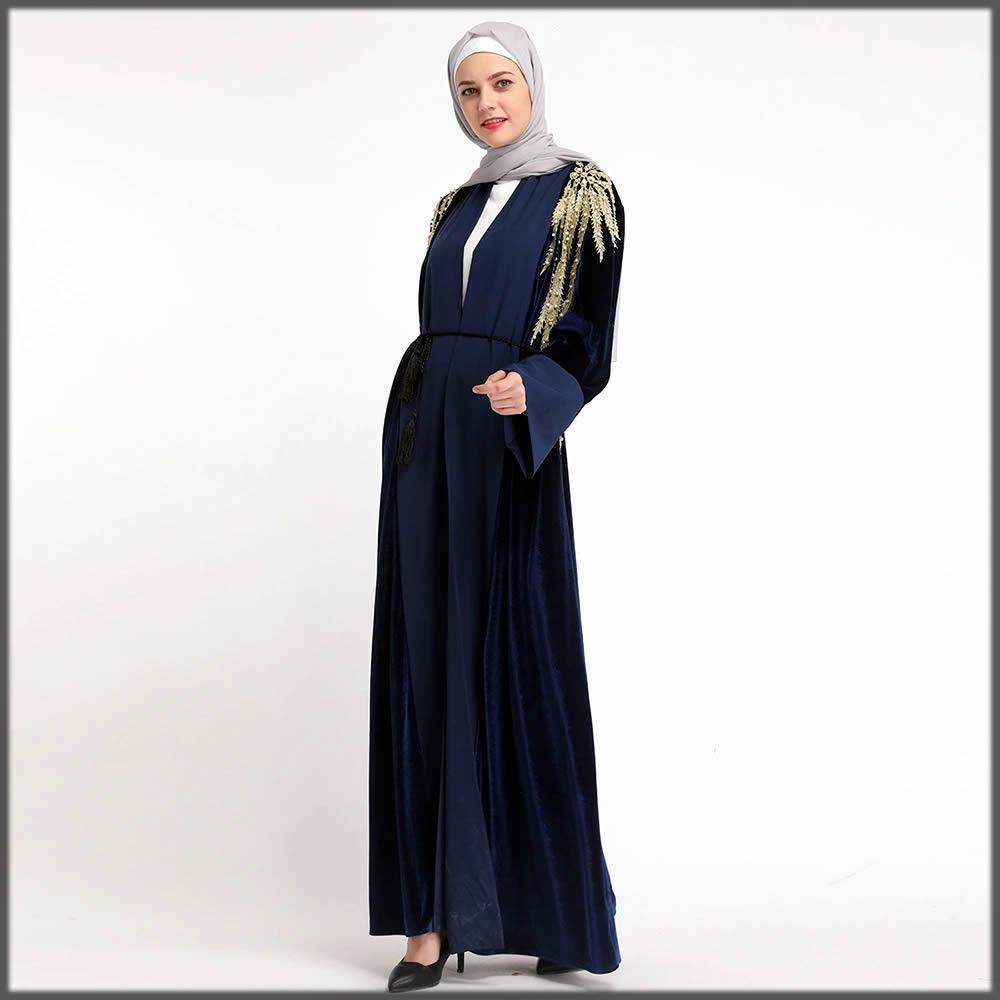 party wear blue velvet abaya