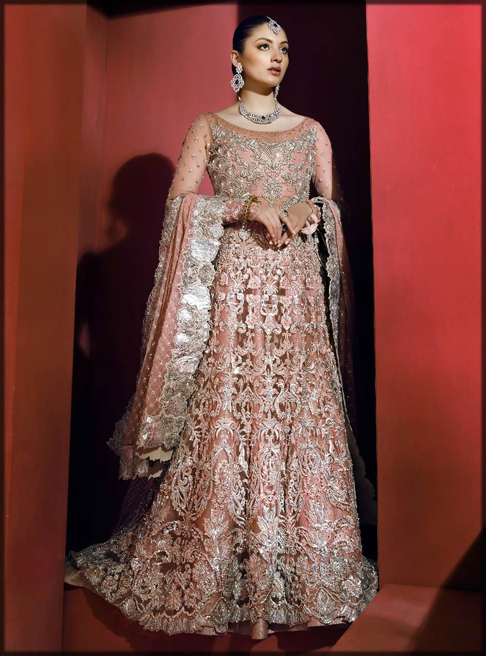 peach colored bridal maxi by zainab chottani