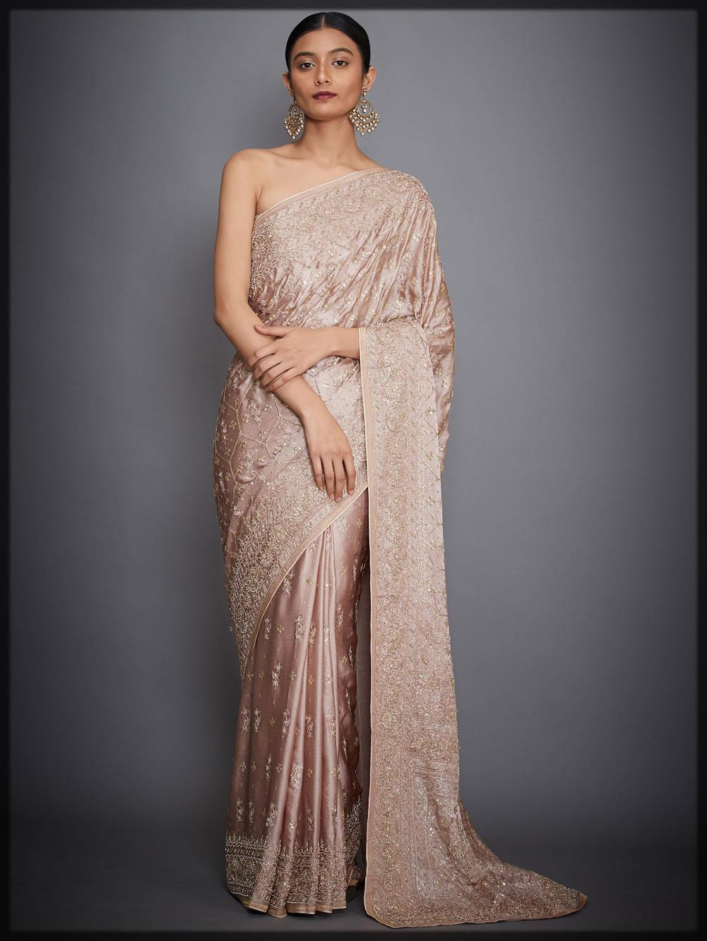 peach embellished silk bridal saree