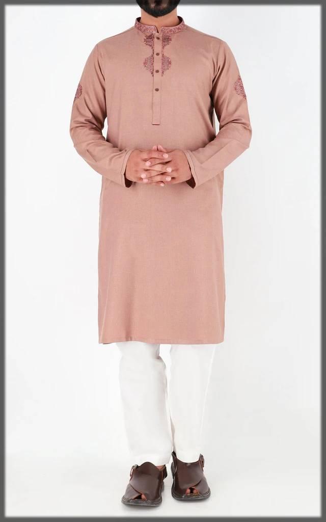 peach-embroidered attire for men