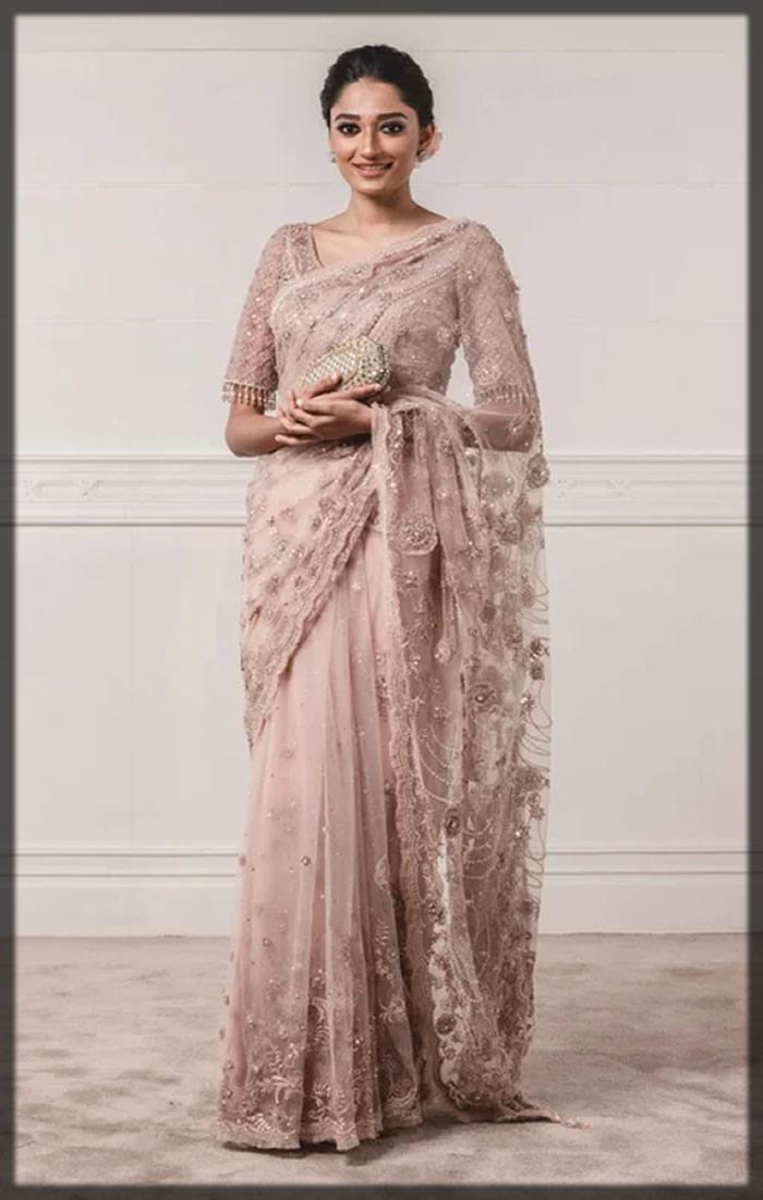 peach net bridal sari