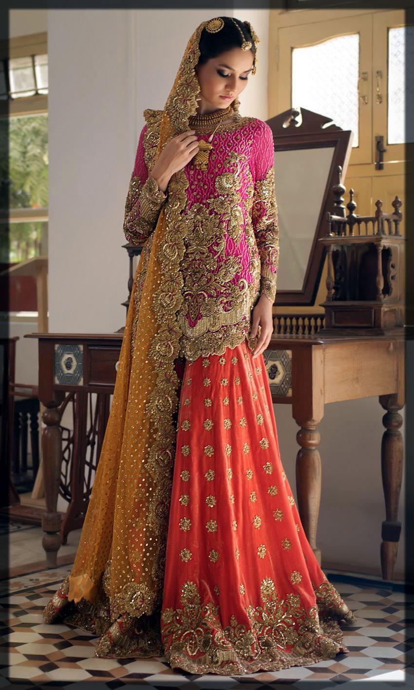 pink and orange mehndi dress