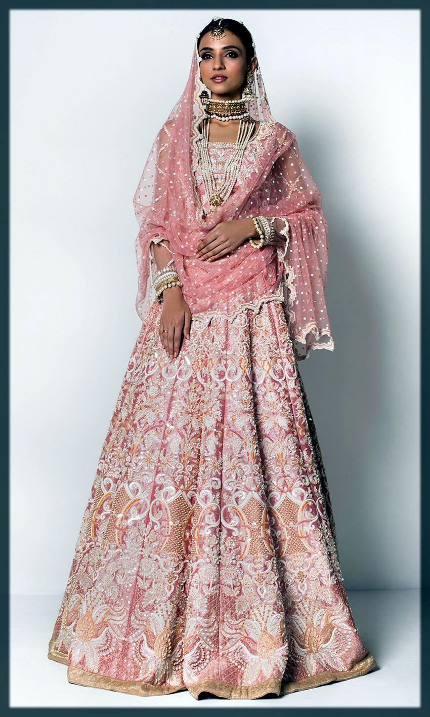 pink bridal wear emboridery dress