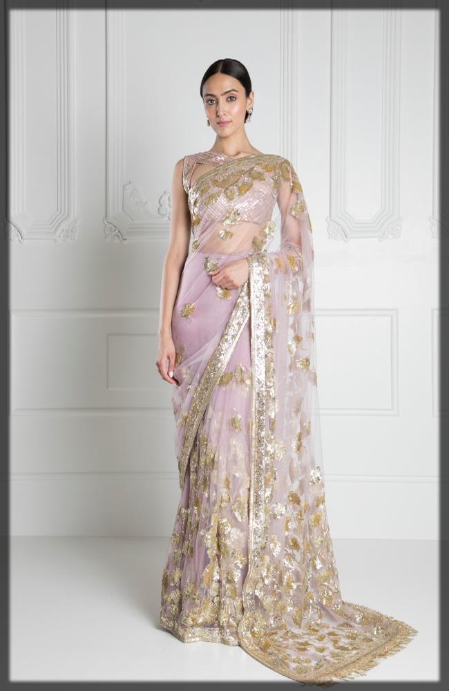 pink embellished saree