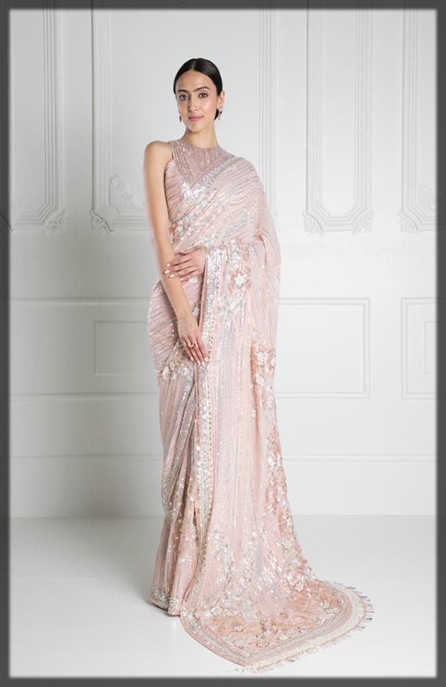 pink embellished sari