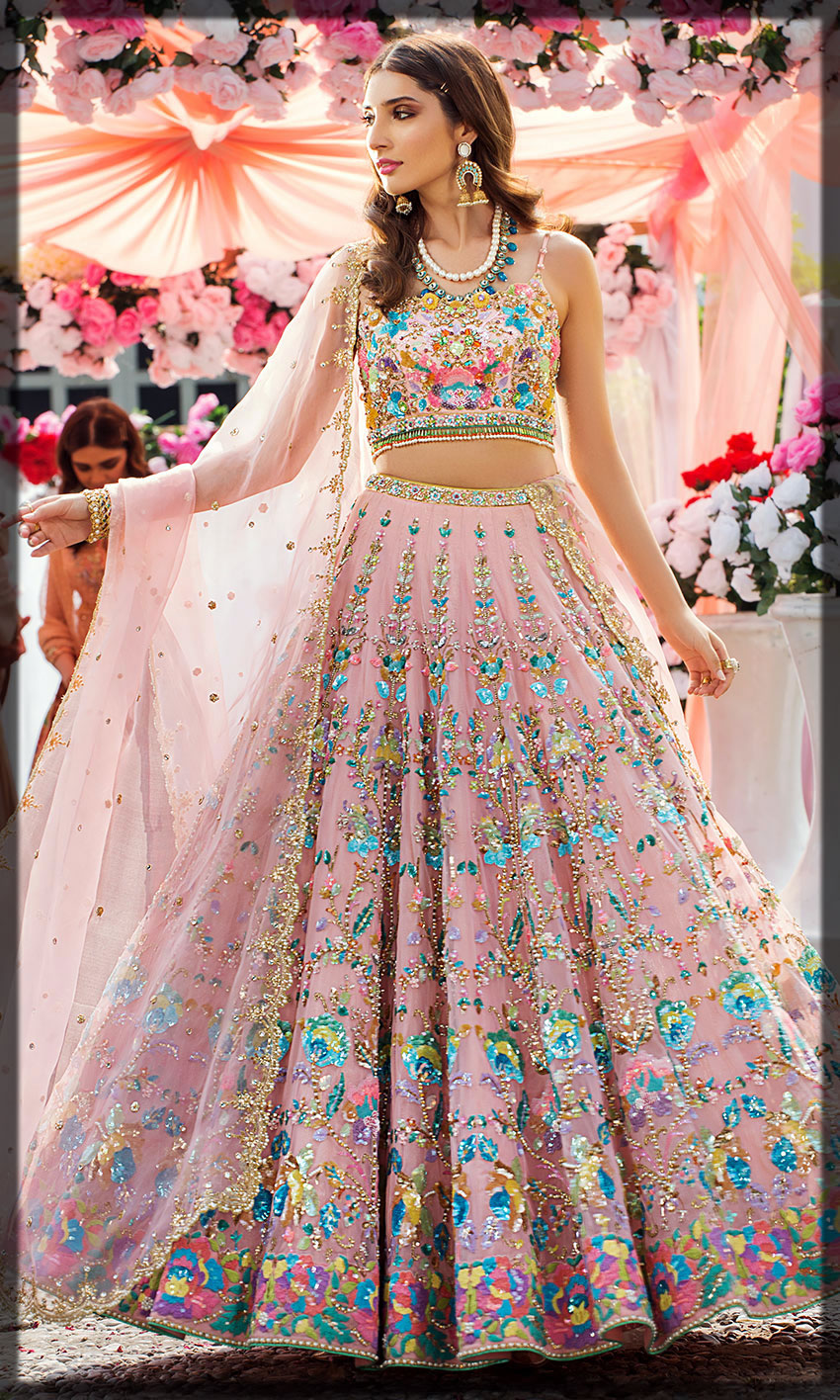 pink emboridery dress by nomi ansari