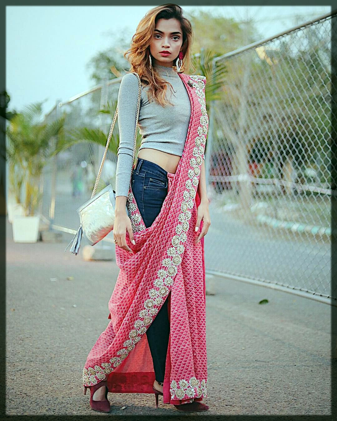 pink fancy saree with jeans