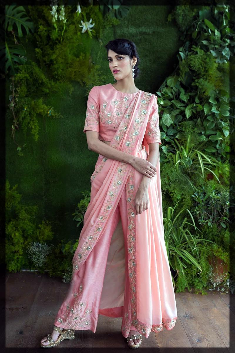 pink flare pant style saree