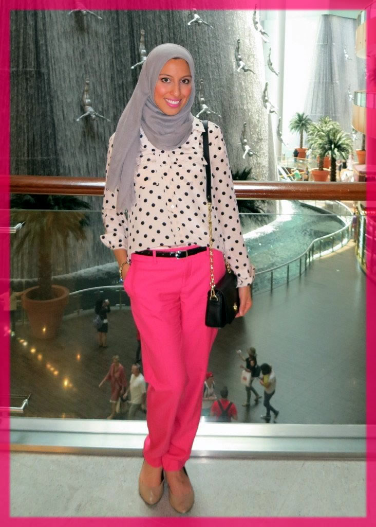 pink jeans with hijab
