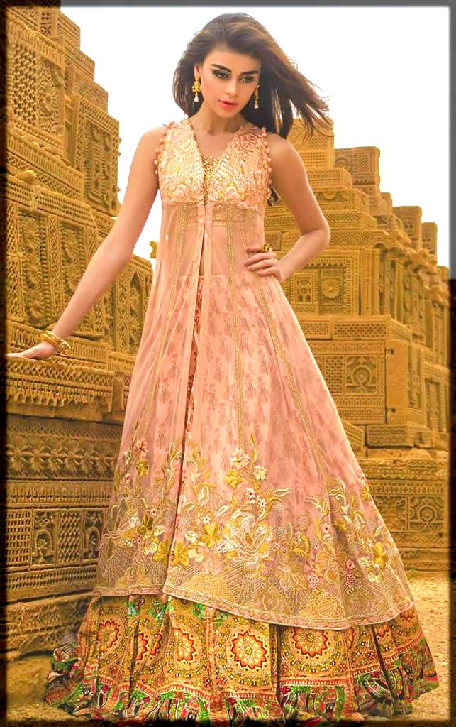 pink pakistani party wear frocks