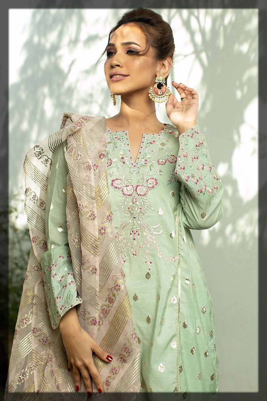 pistachio green embroidered dress