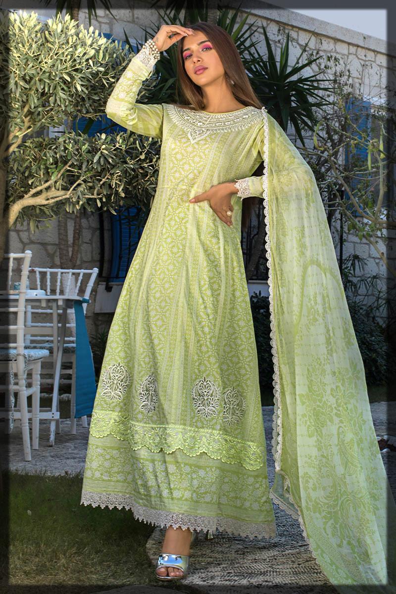 pistachio green lawn dress