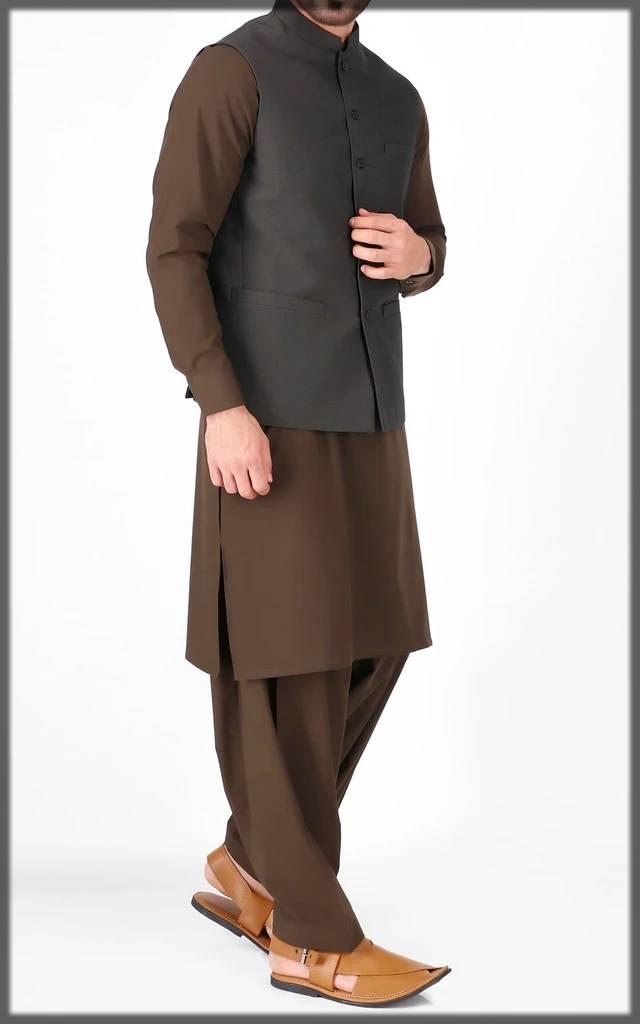 plain basic waistcoat for men-brown