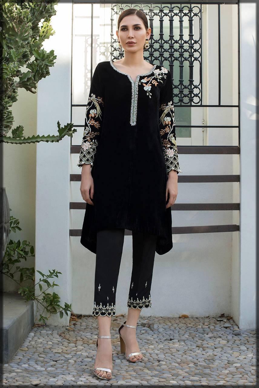 plain black velvet pret with embellished sleeves
