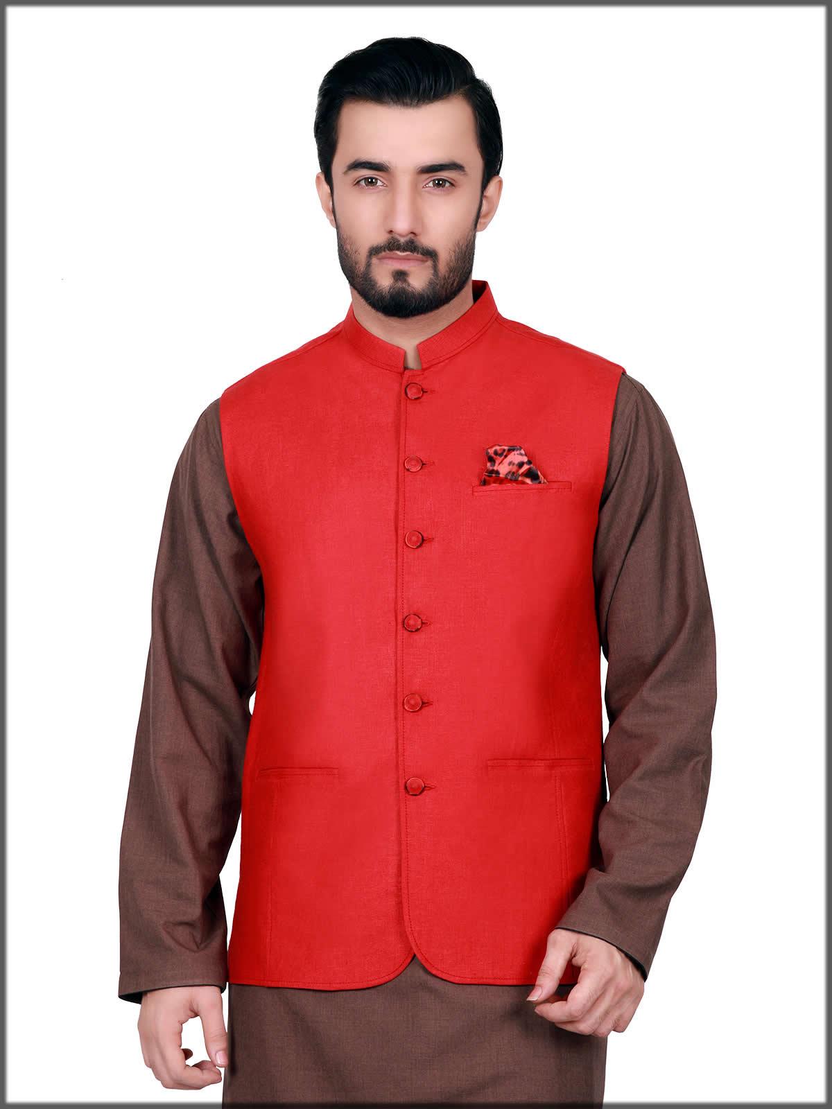 plain red waistcoat by eden robe