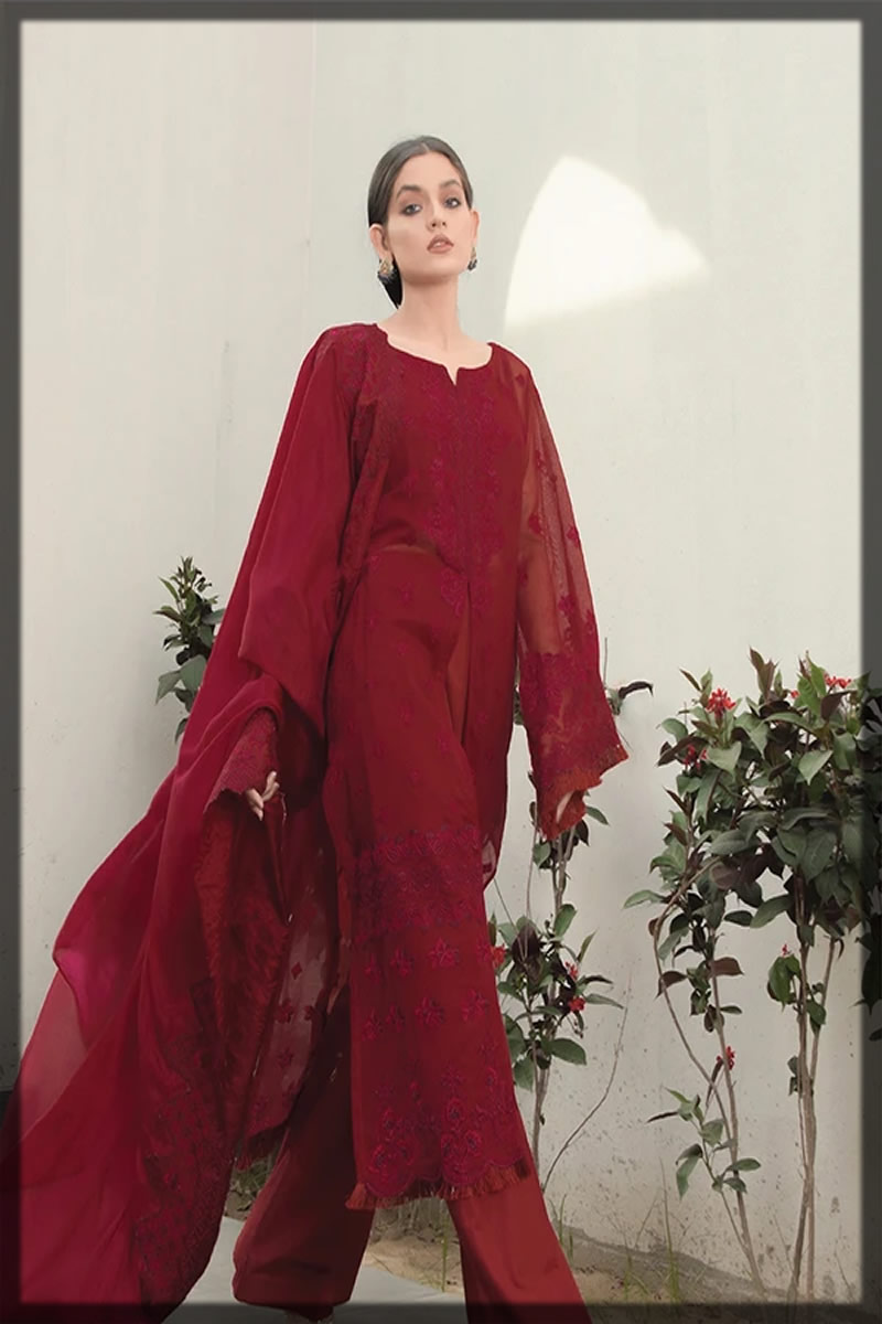 plum embroidered lawn suit