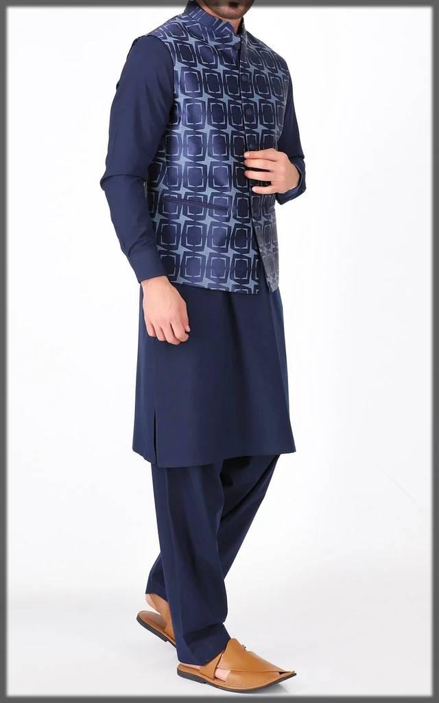 printed basic waistcoat for men-Blue