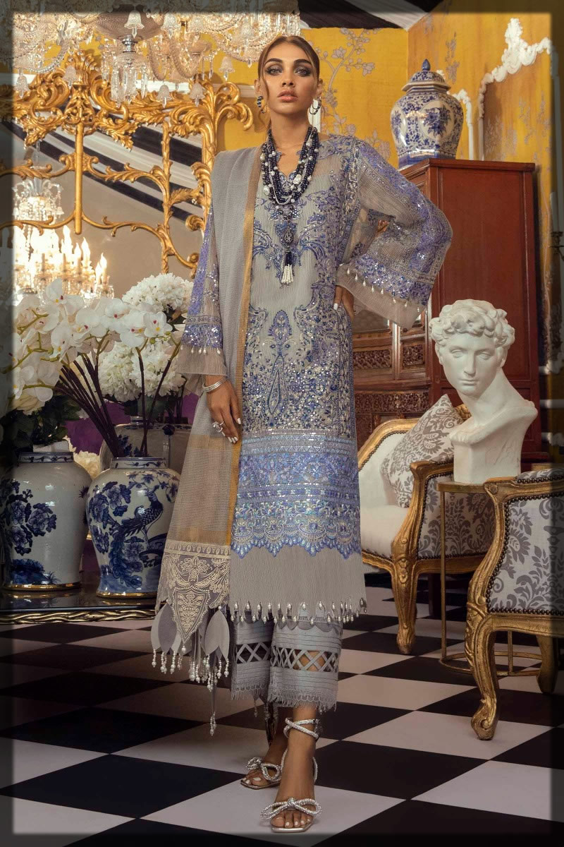 prussian and pigeon blue embroidered suit