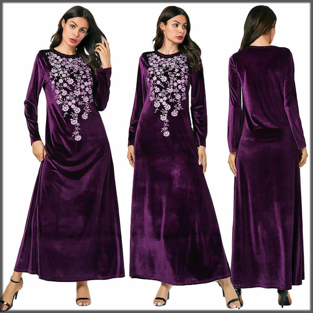 purple embroidered abaya