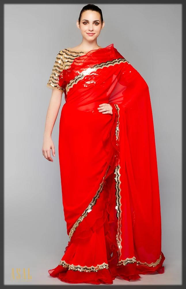 red and golden saree
