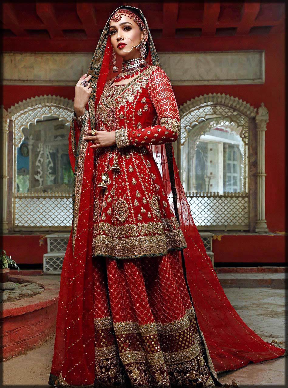 red angrakha style bridal dress by zainab chottani