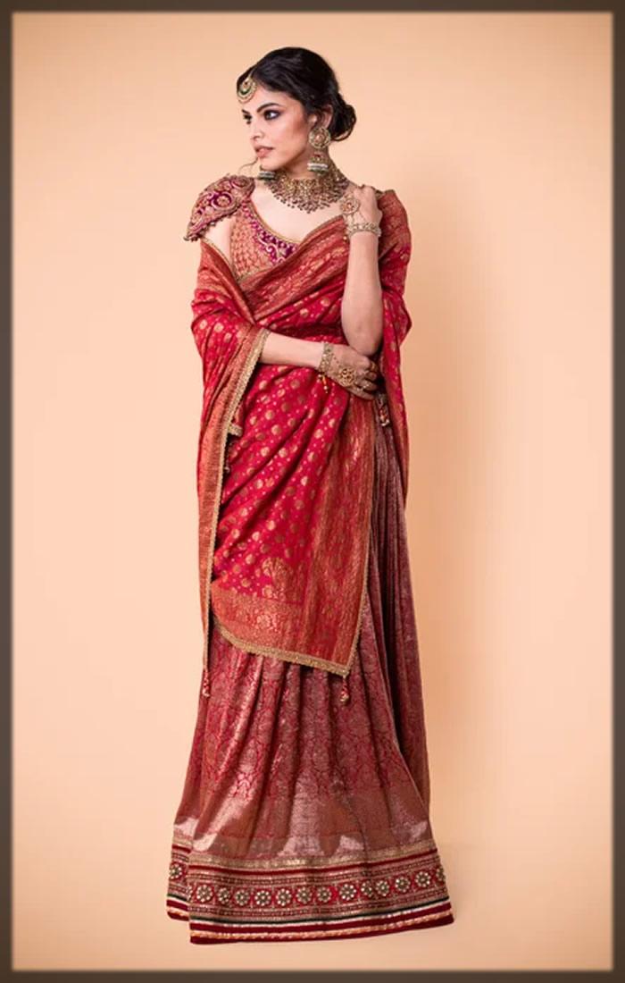 red indian bridal saree